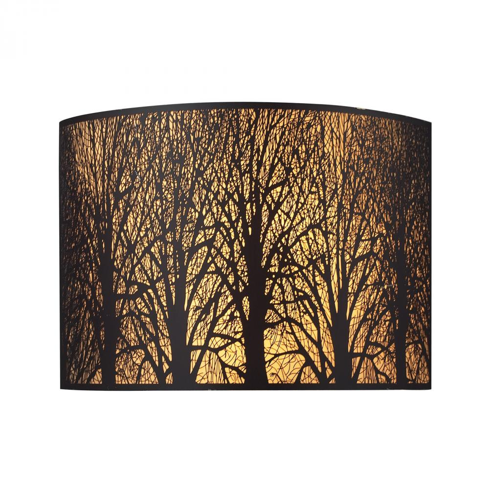 Woodland Sunrise 2 Light Sconce In Aged Bronze With Woodland Shade